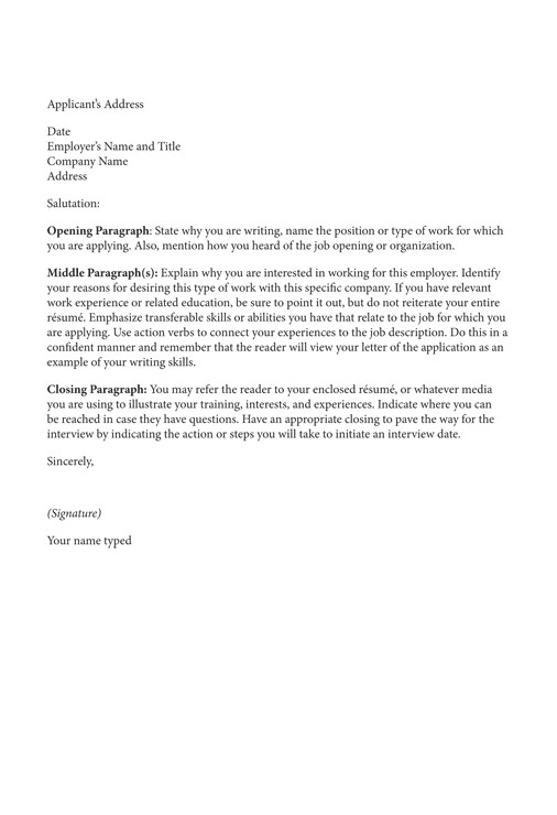 cover letter examples for students