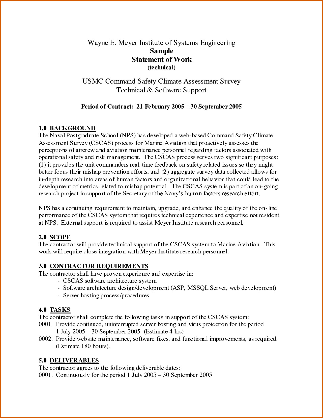 5 statement of work template