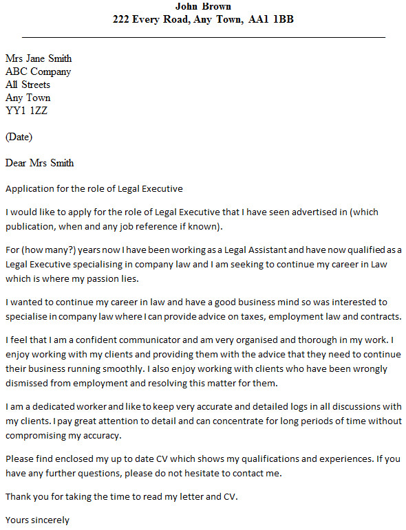 legal executive cover letter example