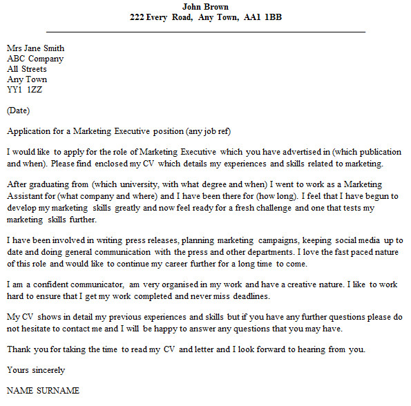 marketing executive cover letter example