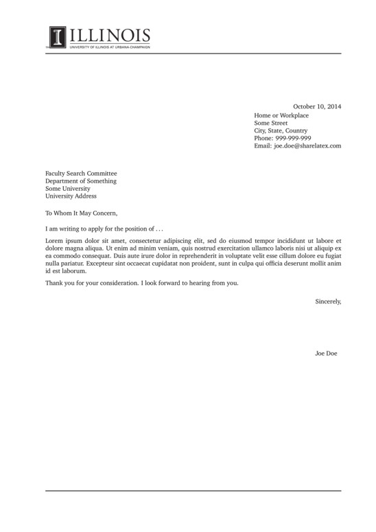illinois university cover letter