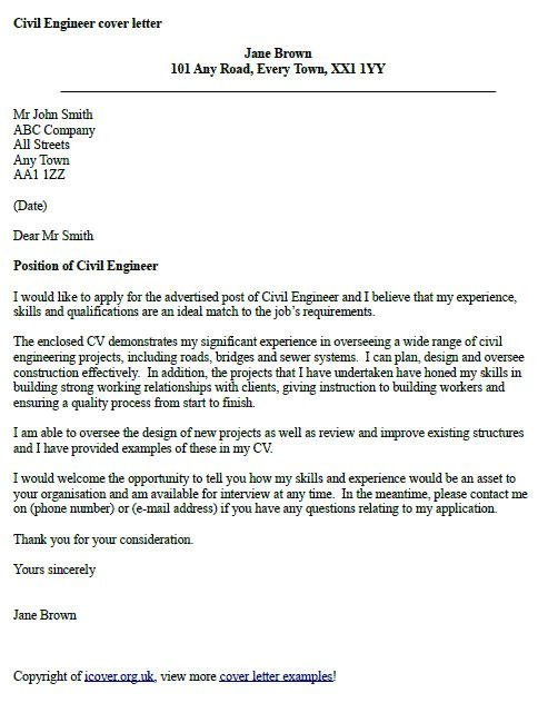 How to Write Cover Letter for Engineering Job Civil Engineer Cover Letter Example Cover Letter
