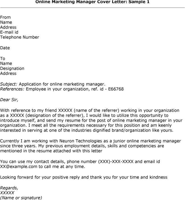 cover letter sample for job application online