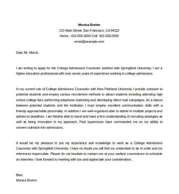 admission counselor cover letter