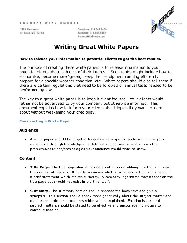 how to write a great white paper