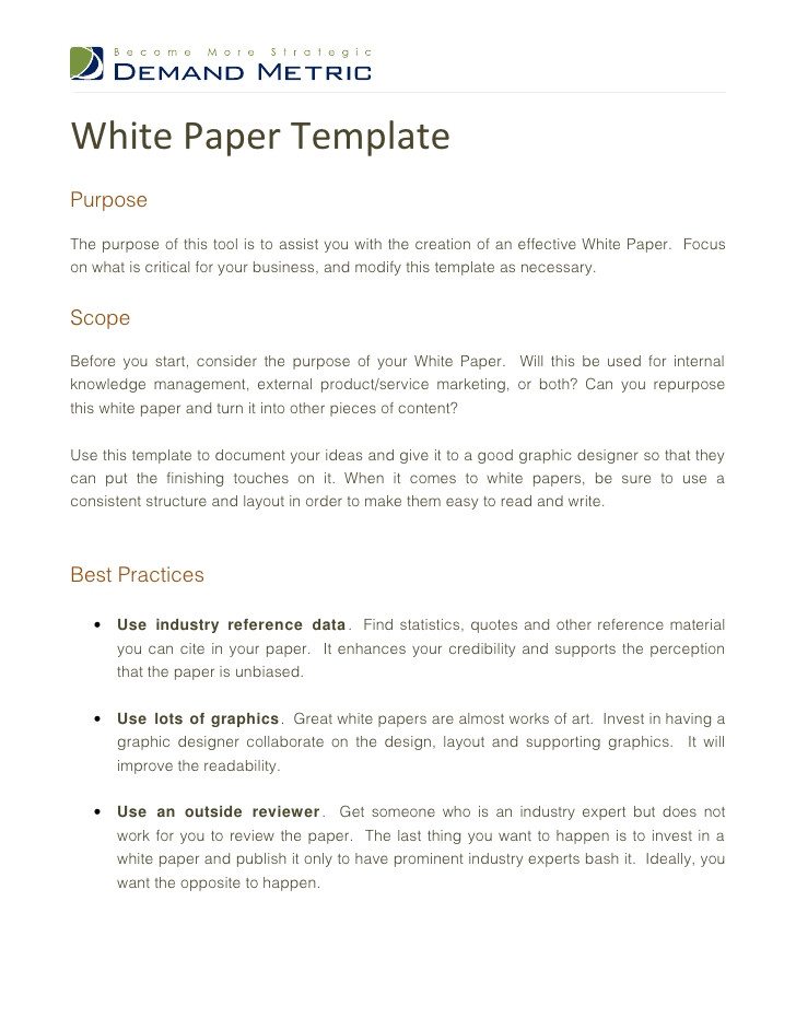 How to Write White Paper Template White Paper Template