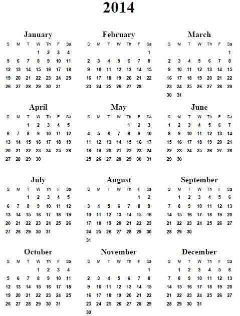 free calendar template 2014