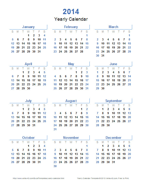 yearly calendar template 2014