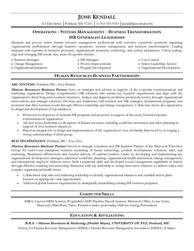 resume of hr business partner
