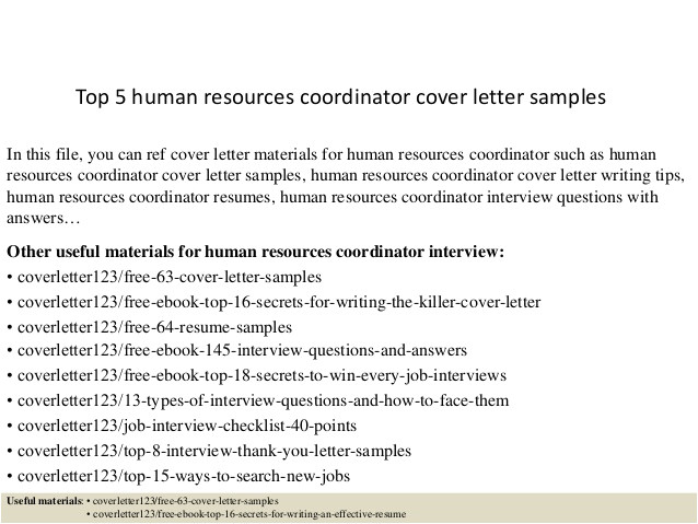 top 5 human resources coordinator cover letter samples