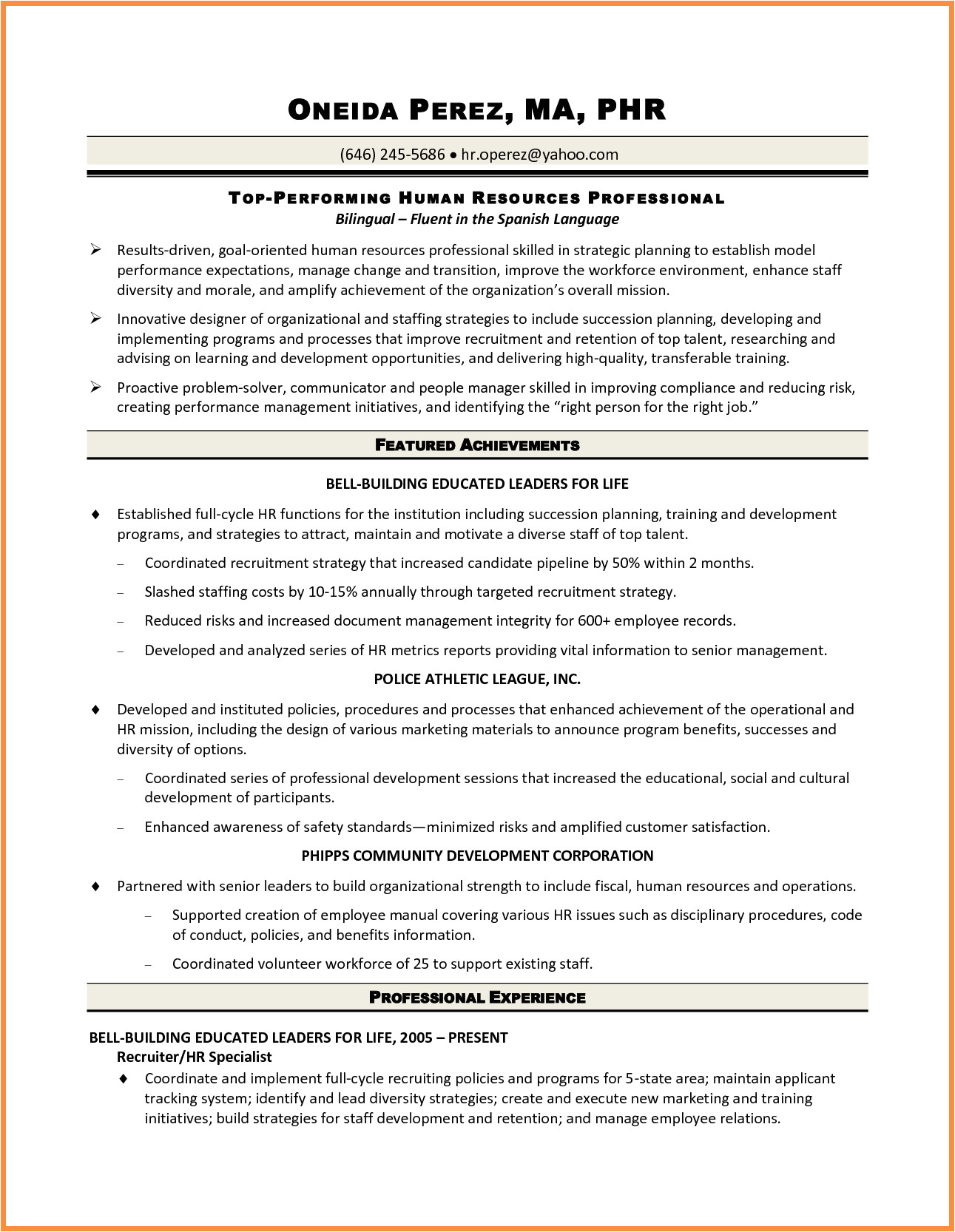 sample resume of hr manager in india
