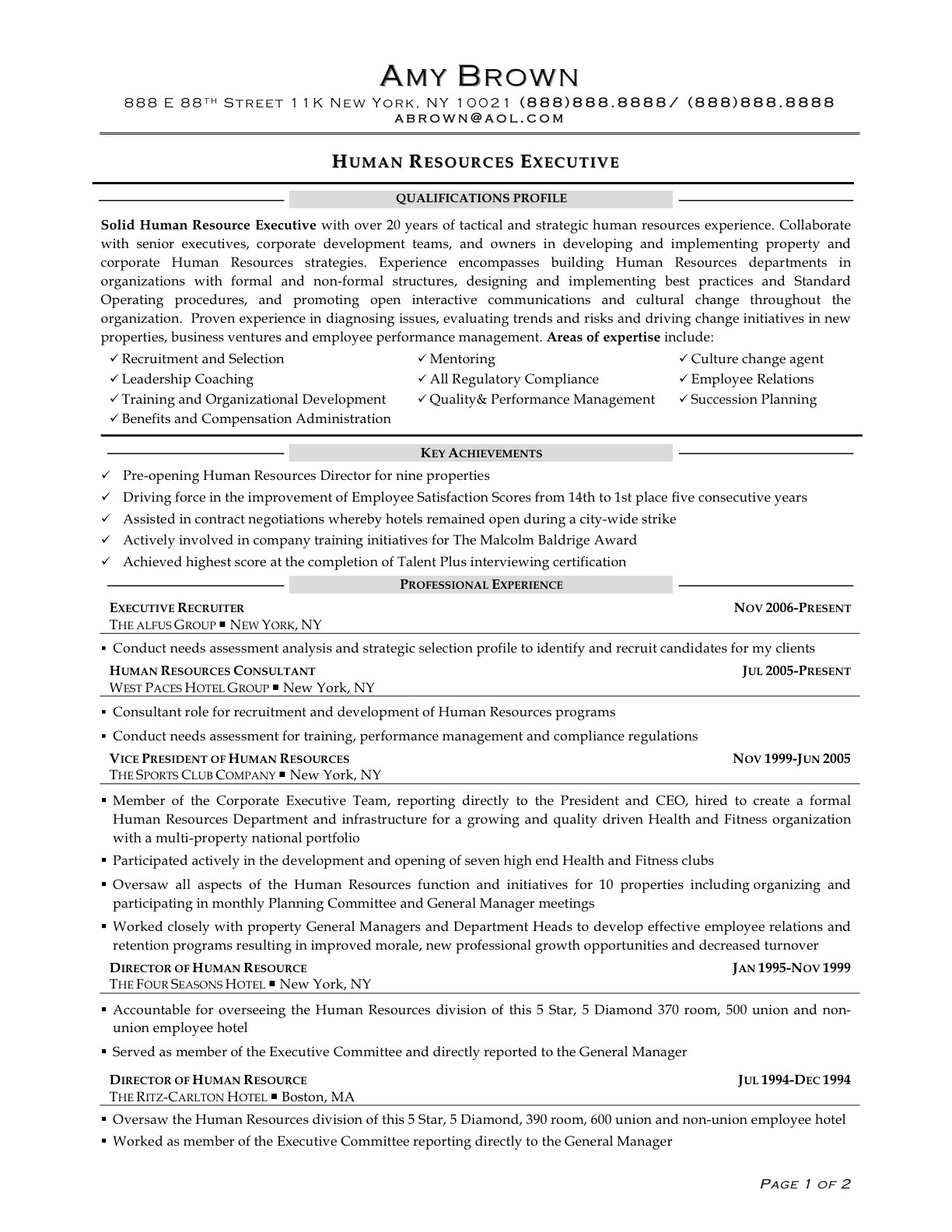 sample resume format for hr executive