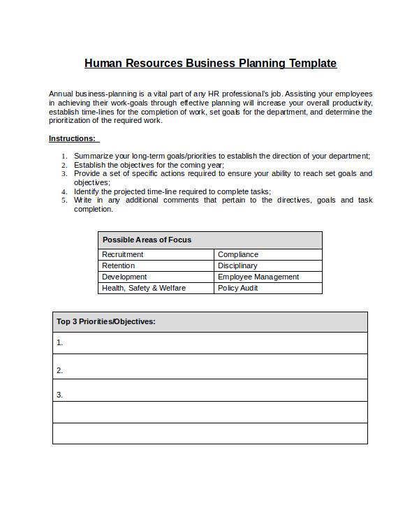 Hr Work Plan Template 10 Sample Hr Plans Sample Templates