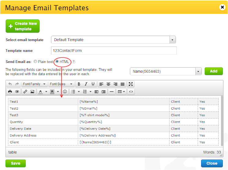 can i customize the content of the email notification that is sent when the form is submitted