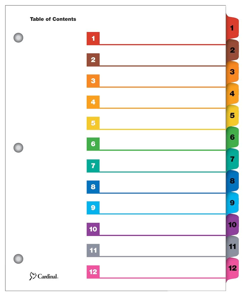 onestepr printable table of contents and dividers 12 tab multi color