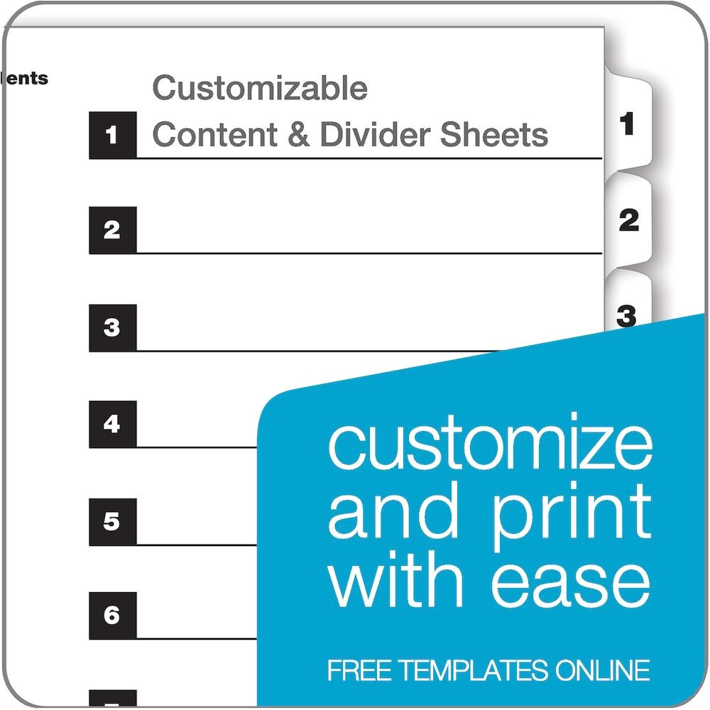 Html Index Page Template Quickstep Onestep Printable Table Of Contents Dividers