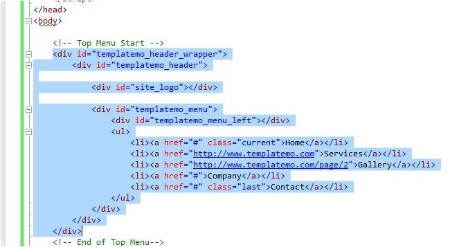 html master page template