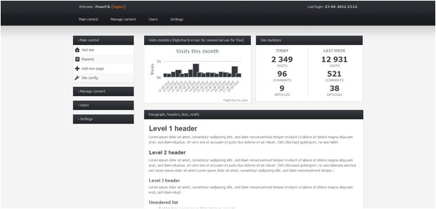 free html css backend admin panel template