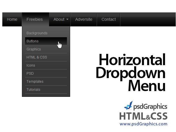 black horizontal html and css dropdown menu