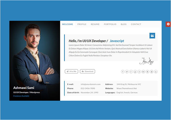 20 best personal vcard resume html templates