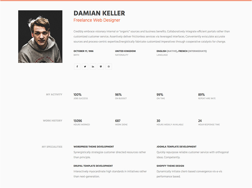 myprofile simple html resume website template