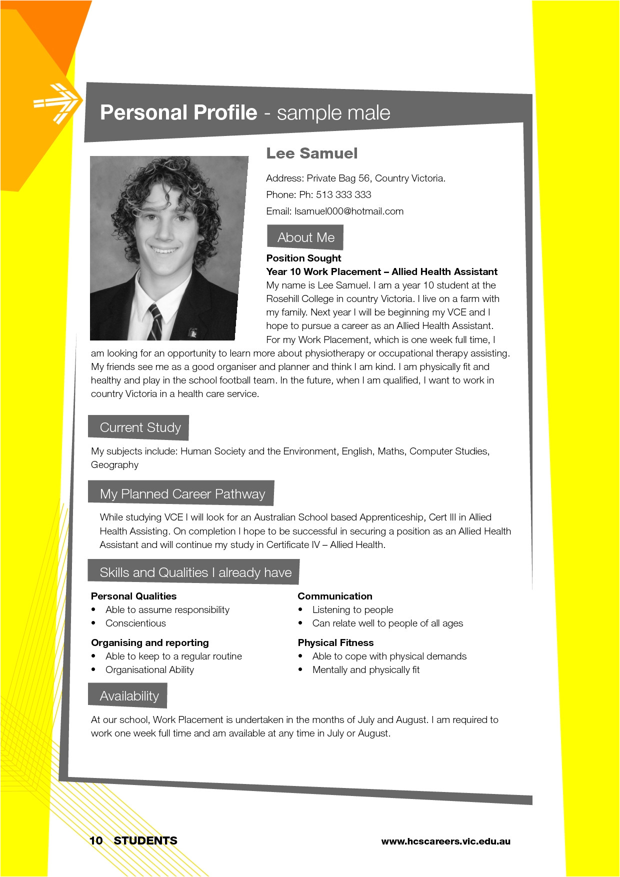 personal profile format sample