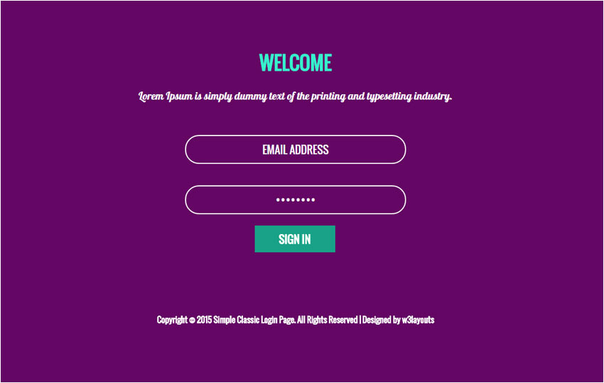 simple classic login form responsive widget template