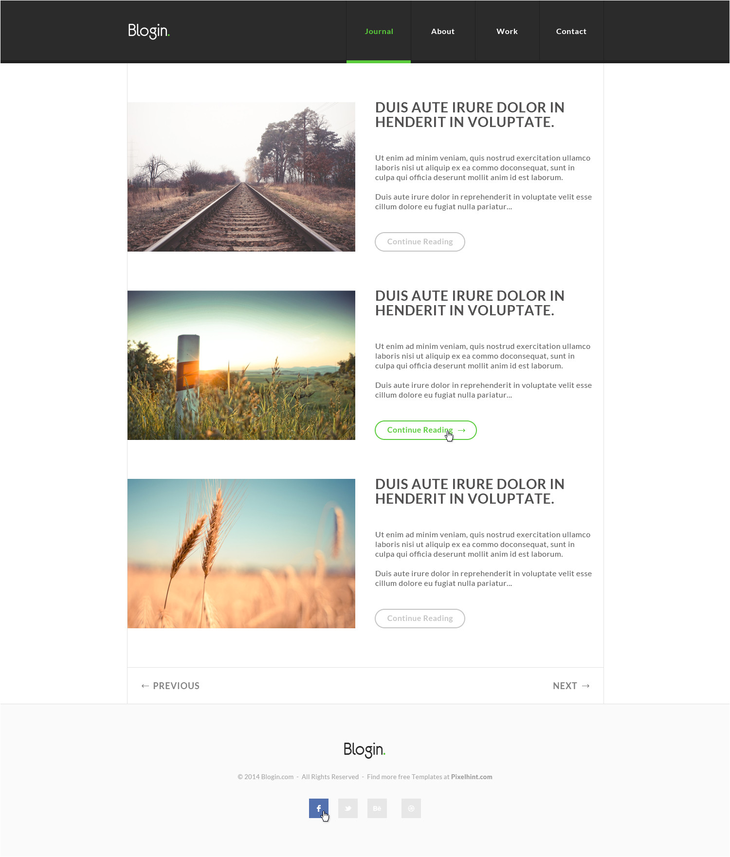 blogin free html5 blog templates