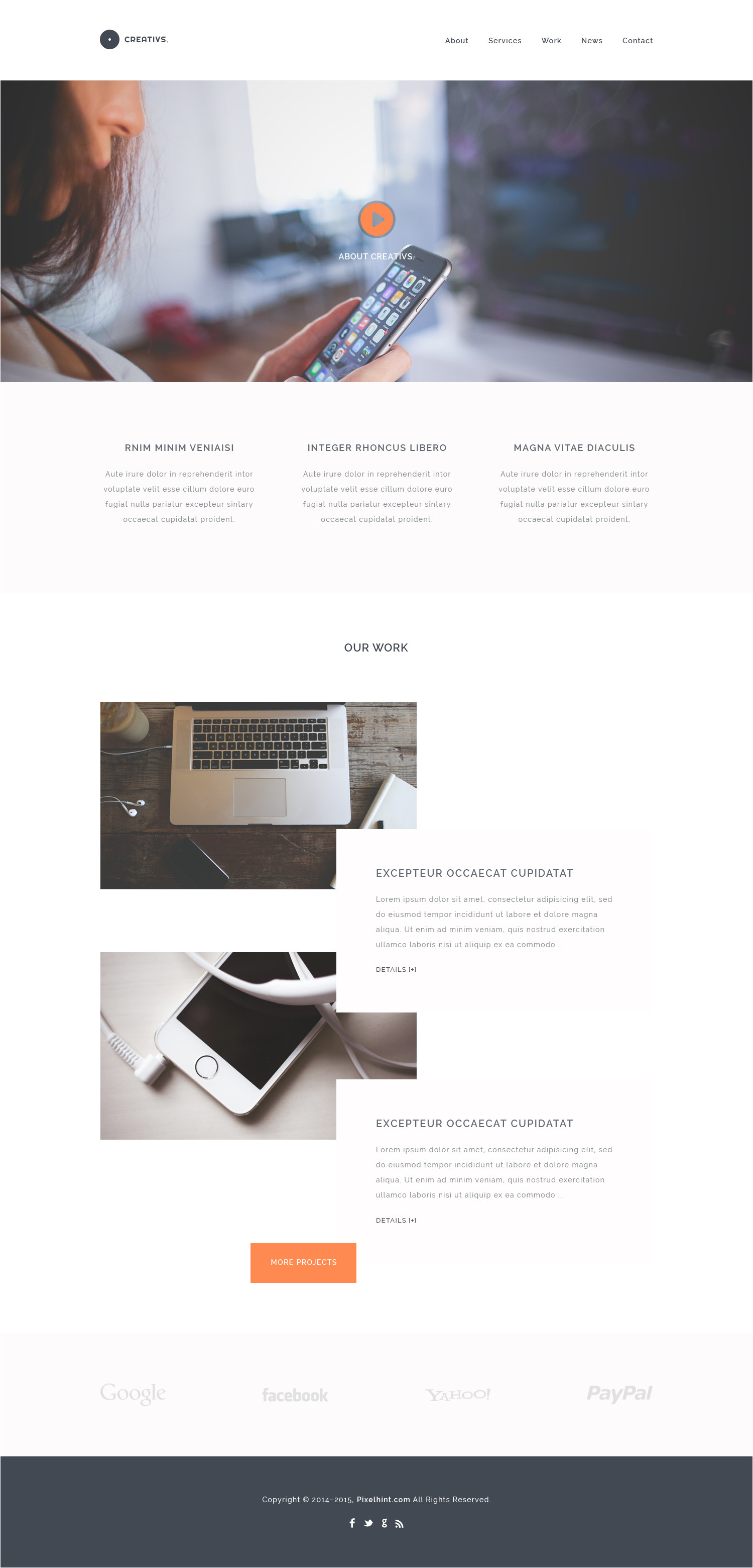creativs free complete psd html5 website template