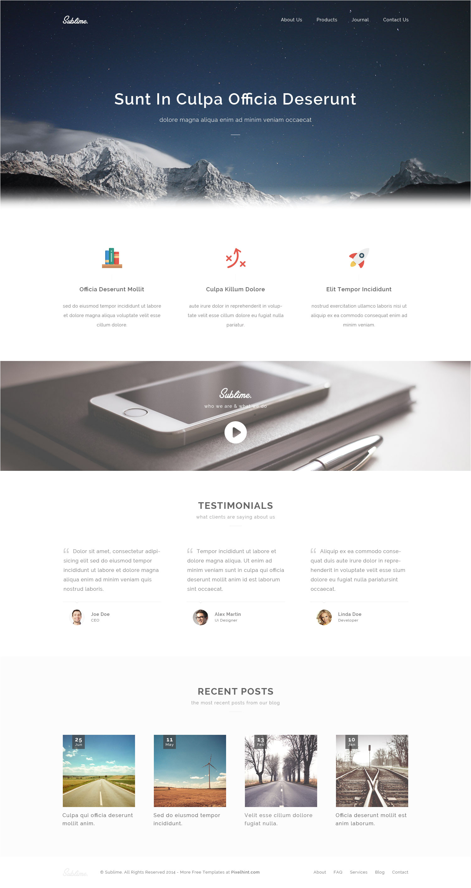 sublime free stunning html5 css3 website template