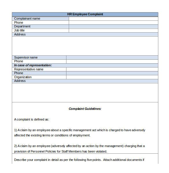 hr complaint letter