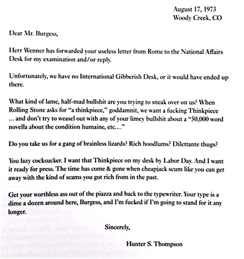 hunter s thompson rejection letter anthony burgess