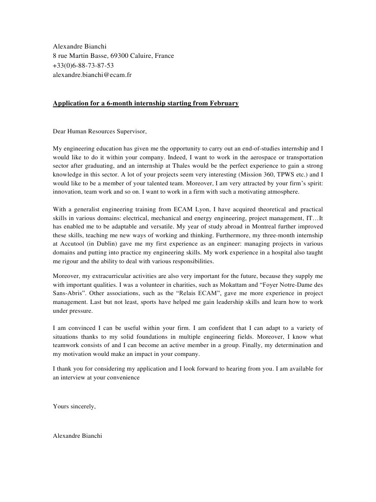 cover letter alexandre bianchi thales