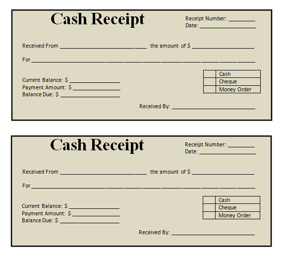 blank sample receipt