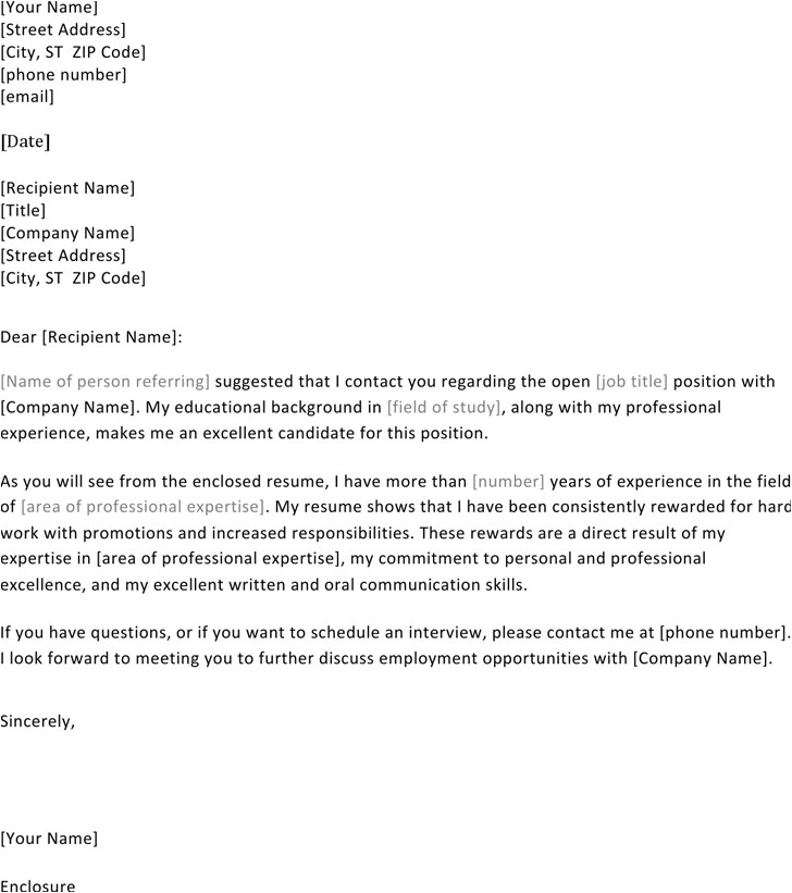 resume cover letter when referred