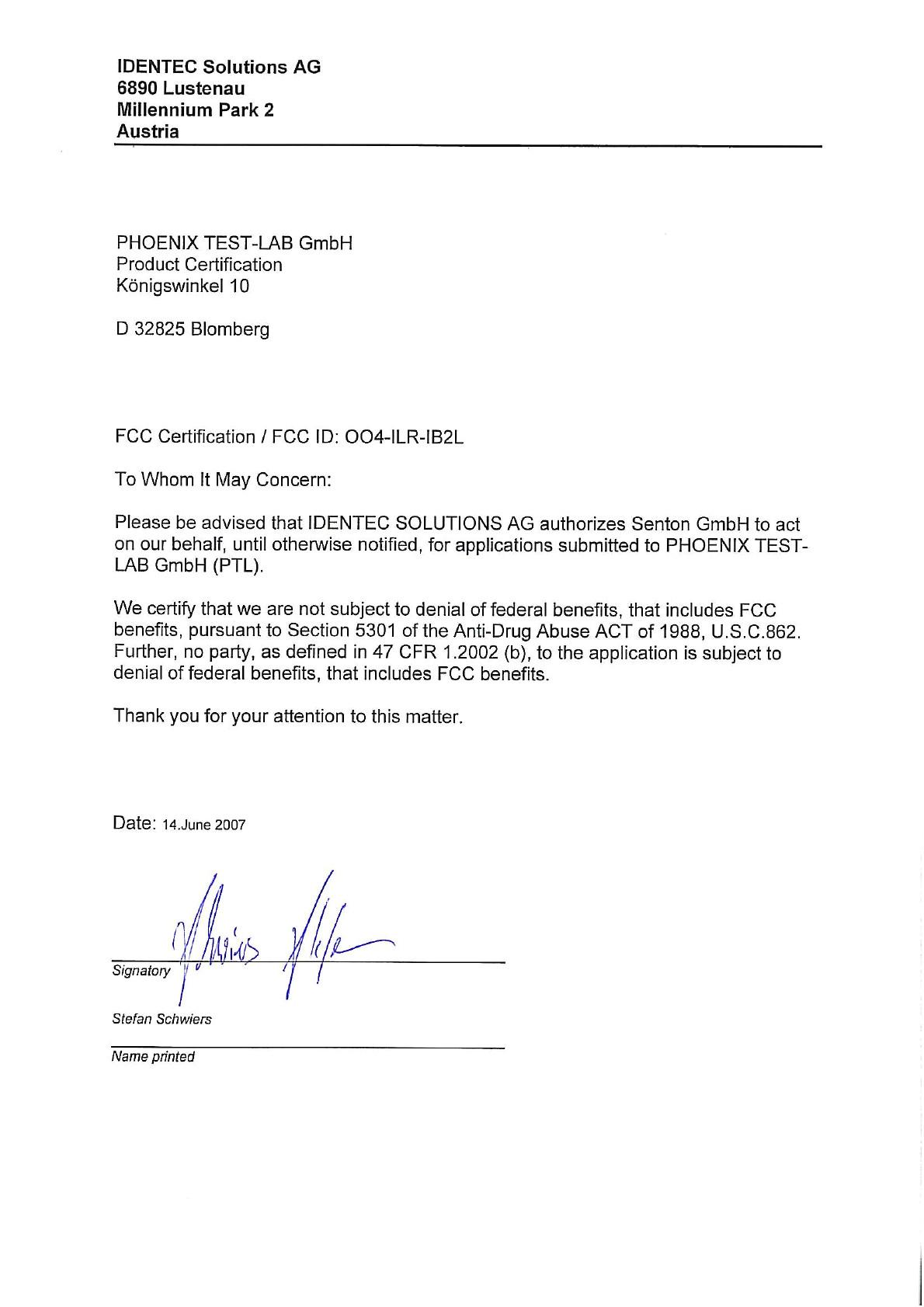 aurhorization letter 812029