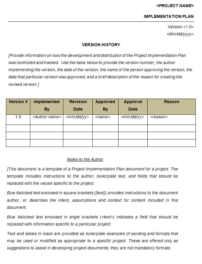 Implementation Approach Template Project Implementation Plan Template 5 Free Word Excel