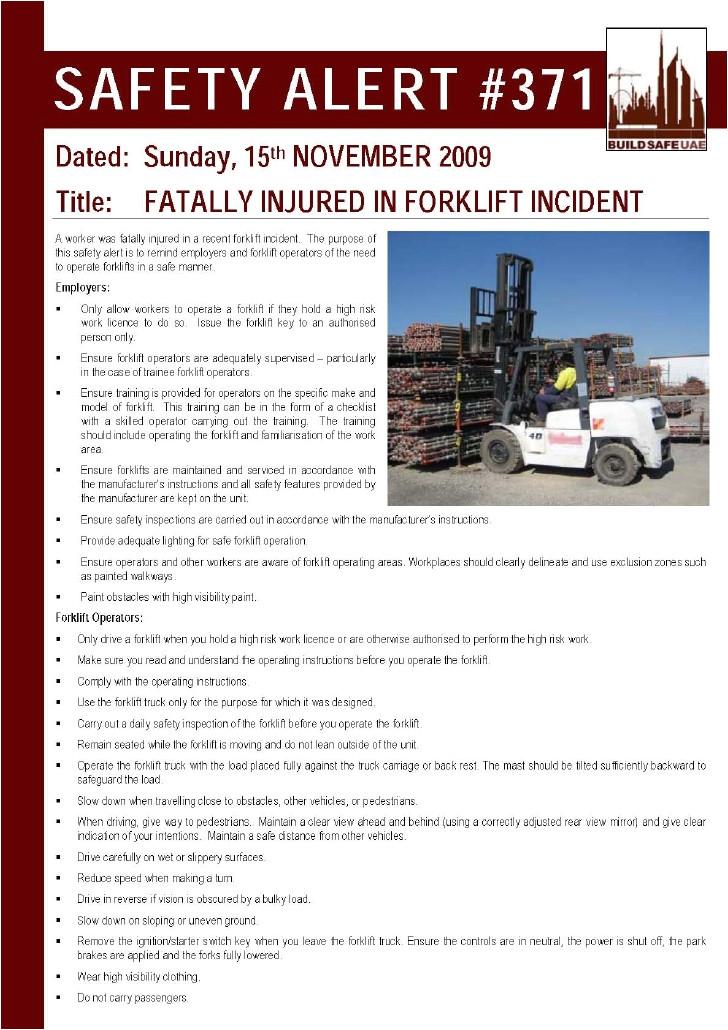 safety alert fatally injured in forklift incident