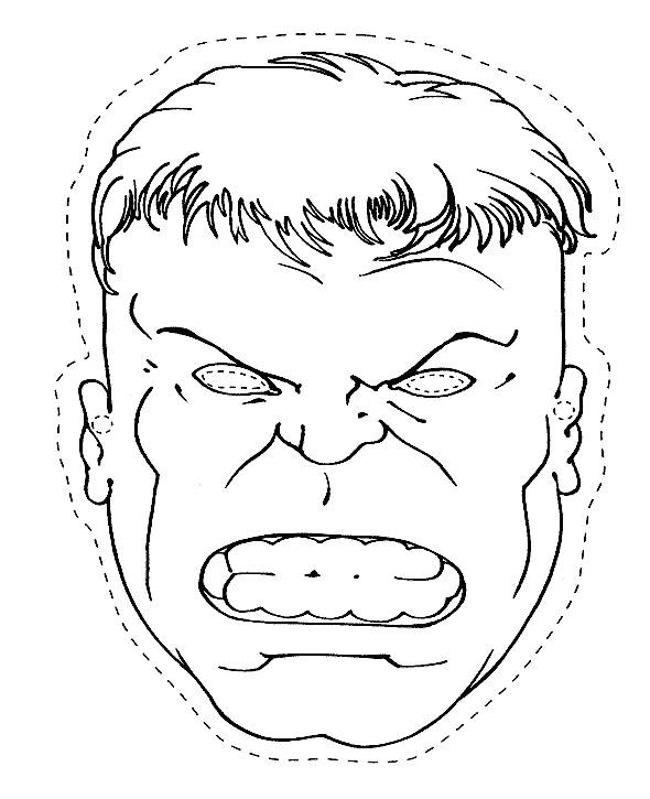 incredible hulk face coloring pages