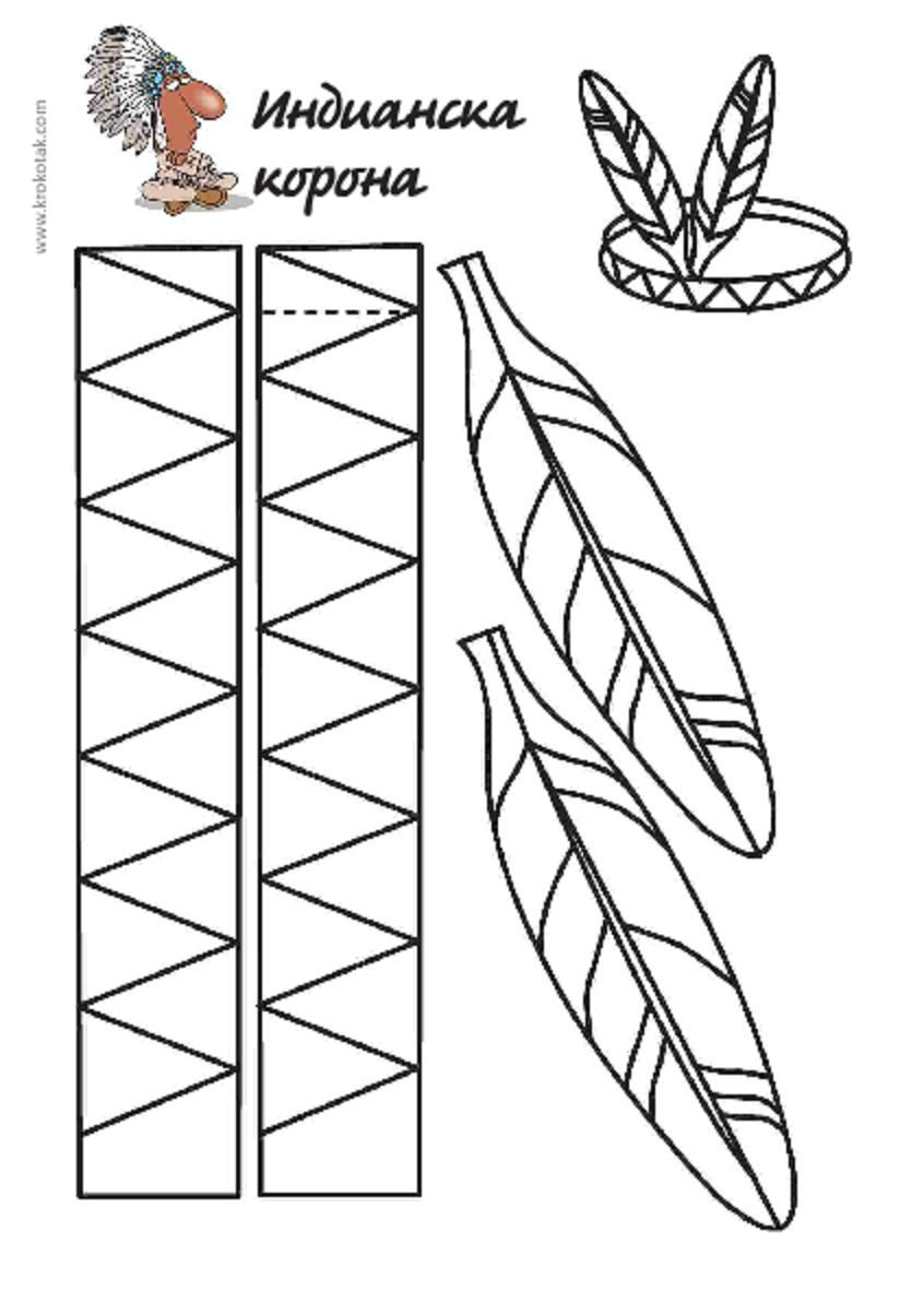 Indian Headdress Template Native American Feather Headband to Cut Color Native