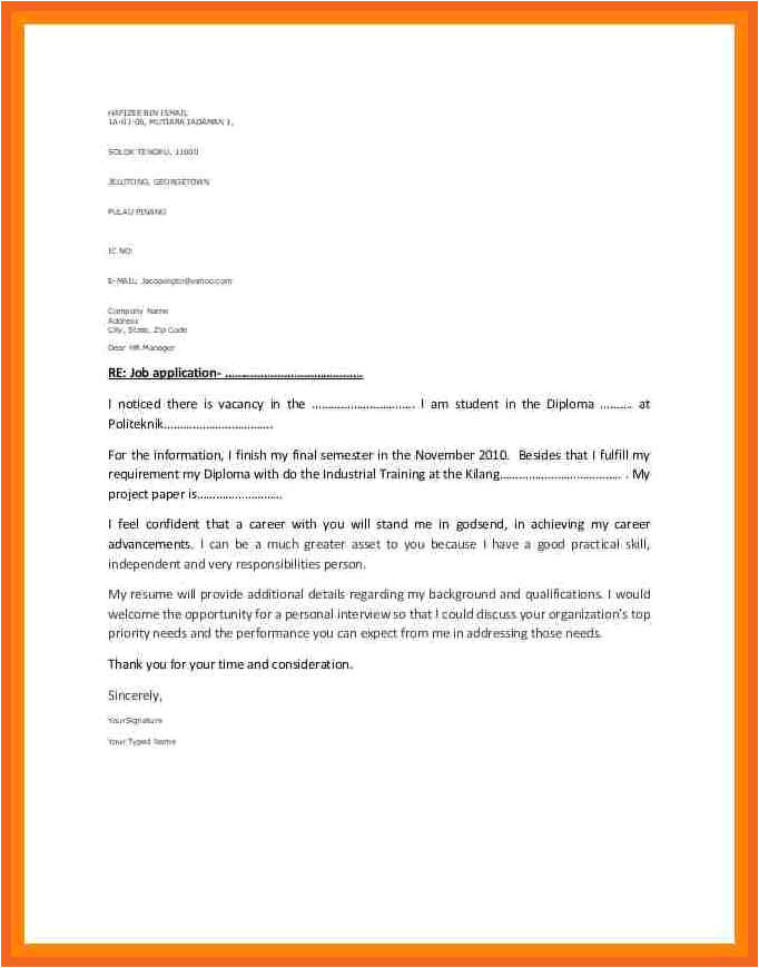 Industrial Placement Cover Letter 8 9 Industrial Training Application Letter Cvsampletemplate
