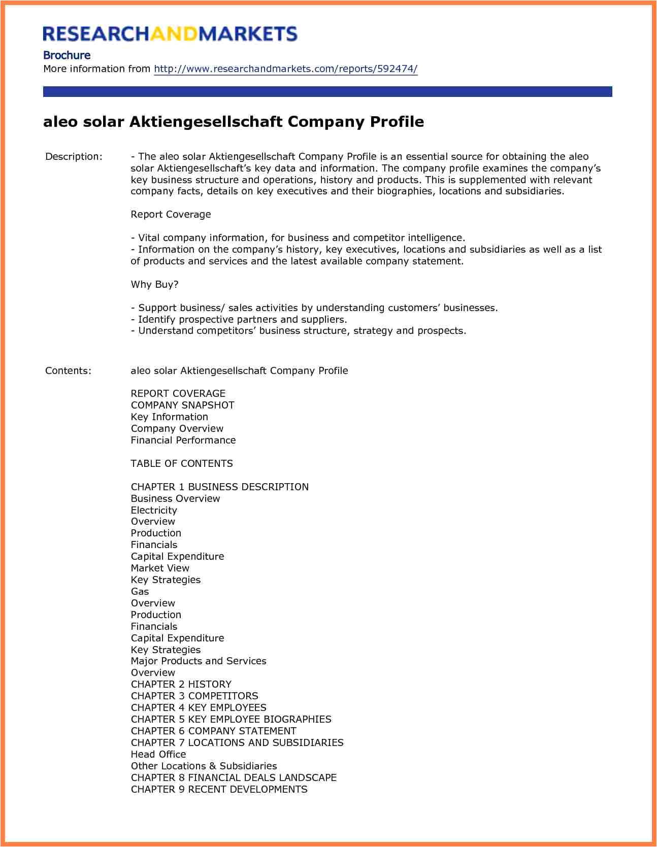 Industry Profile Template 3 Sample Company Profile format In Word Company Letterhead