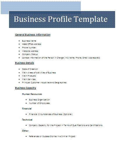 business profile template