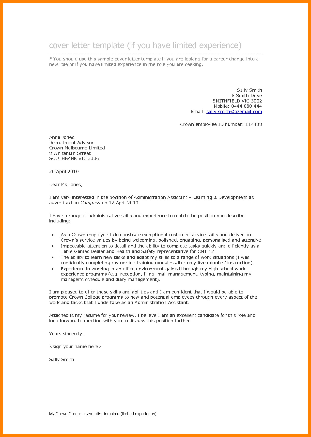 6 arrangement of application letter for position