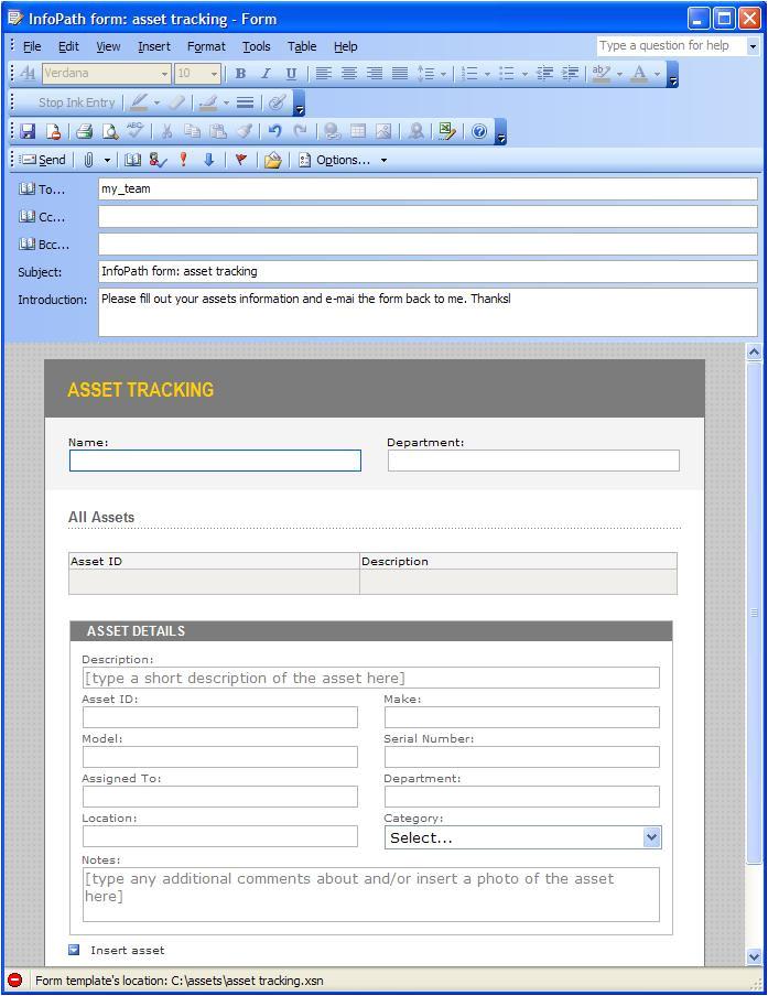 Infopath 2007 form Templates Using Infopath E Mail forms Microsoft Infopath 2010