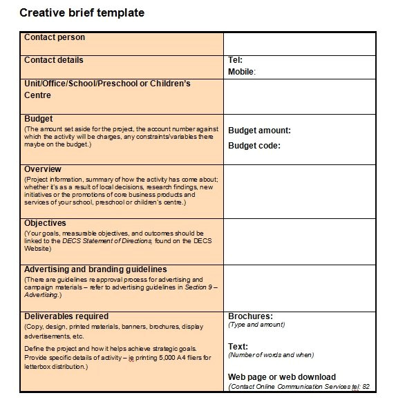 Information Brief Template Creating A Project Brief the Starting Point for Any