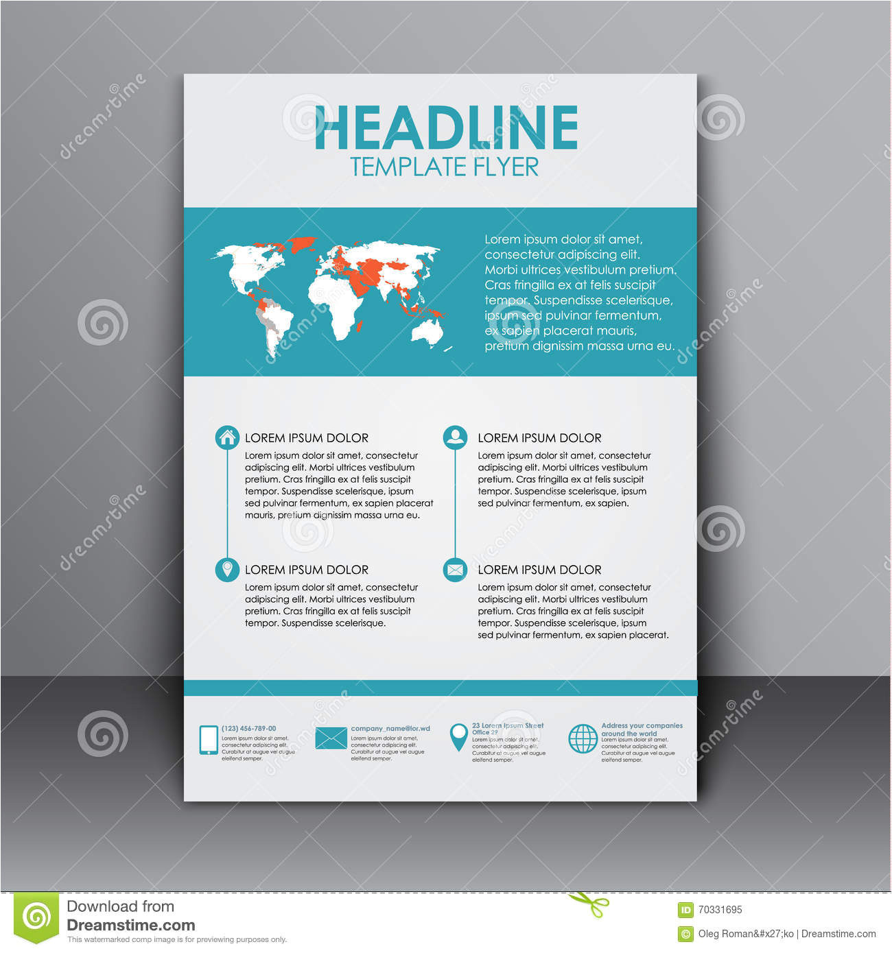 stock illustration template flyer information advertising design flyers brochures reports cover elements infographics world map image70331695