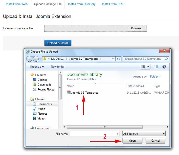 360 how to install joomla 3 2 templates