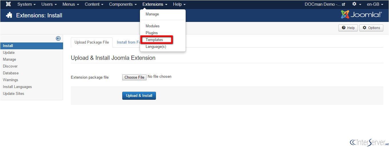 Installing A Joomla Template How to Install Joomla Templates Interserver Tips