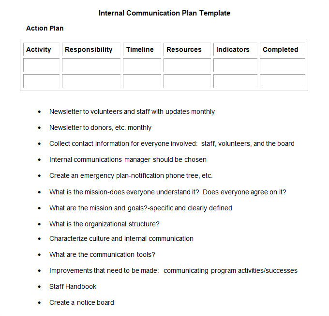 Internal Comms Strategy Template Internal Communication Plan Template 3 Fee Word Pdf